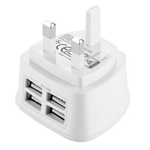 [UAE Stock] [BS Certificate] HAWEEL UK Plug 4 USB Ports Max 3.1A Travel Charger, Private Mold with Patent, For iPhone, iPad, Galaxy, Huawei, Xiaomi, LG, HTC and other Smart Phones