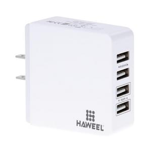 HAWEEL 4 Ports USB Max 3.1A Travel Wall Charger, US Plug, For iPhone, iPad, Galaxy, Huawei, Xiaomi, LG, HTC and other Smart Phones(White)