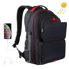 HAWEEL 14W Foldable Solar Power Outdoor Portable Canvas Dual Shoulders Laptop Backpack, USB Output: 5V 2.1A Max(Black)