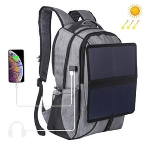 HAWEEL 14W Foldable Removable Solar Power Outdoor Portable Canvas Dual Shoulders Laptop Backpack, USB Output: 5V 2.1A Max(Grey)