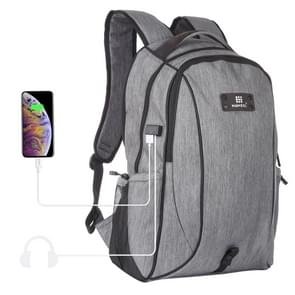 HAWEEL Outdoor Portable Canvas Dual Shoulders Laptop Backpack(Grey)