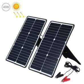 HAWEEL 2 PCS 20W Monocrystalline Silicon Solar Power Panel Charger, with USB Port & Holder & Tiger Clip, Support QC3.0 and AFC(Black)