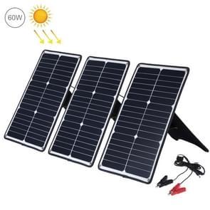 HAWEEL 3 stuks 20W monokristallijne silicium zonne-energie paneel lader  met USB-poort & houder & Tiger clip  ondersteuning QC 3.0 en AFC (zwart)