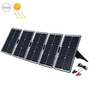 HAWEEL 5 stuks 20W monokristallijne silicium zonne-energie paneel lader  met USB-poort & houder & Tiger clip  ondersteuning QC 3.0 en AFC (zwart)