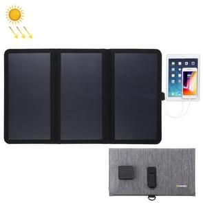 HAWEEL 21W ultradunne 3-voudige opvouwbare 5V/3A Max zonnepaneel oplader met dubbele USB-poorten  ondersteuning QC 3.0 en AFC (zwart)