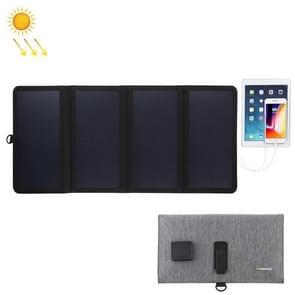 HAWEEL 28W ultradunne 4-voudige opvouwbare 5V/3A Max zonnepaneel oplader met dubbele USB-poorten  ondersteuning QC 3.0 en AFC (zwart)