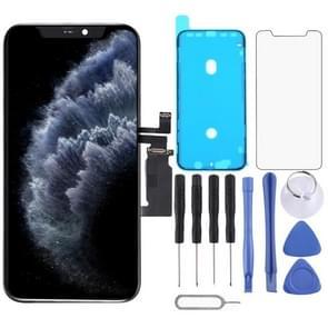 OLED-materiaal LCD-scherm en digitizer volledige montage met frame voor iPhone 11 Pro (zwart)