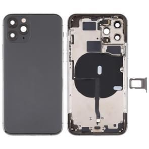 Battery Back Cover (met side keys & Card Tray & Power + Volume Flex Cable & Wireless Charging Module) voor iPhone 11 Pro(Zwart)