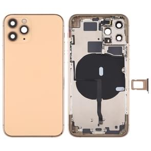 Battery Back Cover (met side keys & Card Tray & Power + Volume Flex Cable & Wireless Charging Module) voor iPhone 11 Pro(Gold)