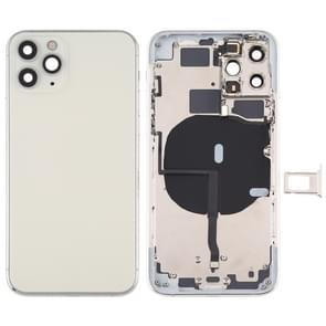 Battery Back Cover (met side keys & Card Tray & Power + Volume Flex Cable & Wireless Charging Module) voor iPhone 11 Pro Max(Zilver)