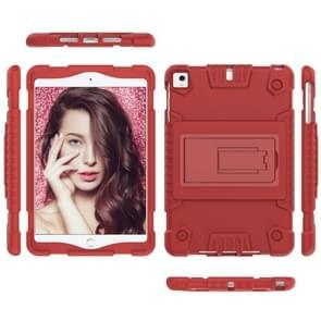 Volledige dekking silicone schokbestendig geval voor iPad mini (2019) & 4 & 3 & 2 & 1, met houder (rood)