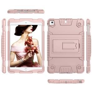 Volledige dekking silicone schokbestendig Case voor iPad mini (2019) & 4 & 3 & 2 & 1, met houder (Rose goud)
