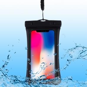 PVC Transparent Airbag Universal Waterproof Bag with Lanyard for Smart Phones below 5.5 inch (Black)