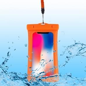 PVC transparante airbag universele waterdichte tas met Lanyard voor smartphones onder 5,5 inch (oranje)