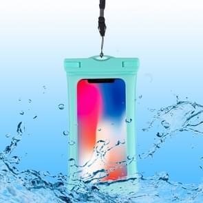PVC transparante airbag universele waterdichte tas met Lanyard voor smartphones onder 5,5 inch (mintgroen)