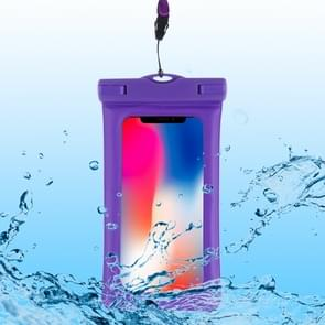 PVC transparante airbag universele waterdichte tas met Lanyard voor smartphones onder 5,5 inch (paars)