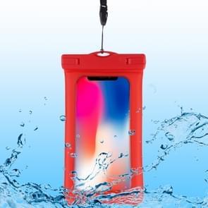 PVC transparante airbag universele waterdichte tas met Lanyard voor smartphones onder 5,5 inch (rood)