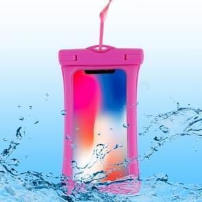 PVC transparante airbag universele waterdichte tas met Lanyard voor smartphones onder 5,5 inch (Rose rood)