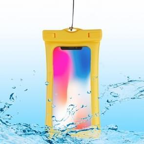 PVC transparante airbag universele waterdichte tas met Lanyard voor smartphones onder 5,5 inch (geel)