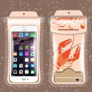 Lightly Lobster Pattern PVC Transparent Universal Luminous Waterproof Bag with Lanyard for Smart Phones below 5.8 inch