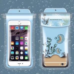 Spotted Fish Pattern PVC Transparent Universal Luminous Waterproof Bag with Lanyard for Smart Phones below 5.8 inch