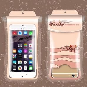 Happy Little Crab Pattern PVC Transparent Universal Luminous Waterproof Bag with Lanyard for Smart Phones below 5.8 inch