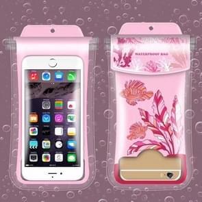 Dancing Seaweed Pattern PVC Transparent Universal Luminous Waterproof Bag with Lanyard for Smart Phones below 5.8 inch