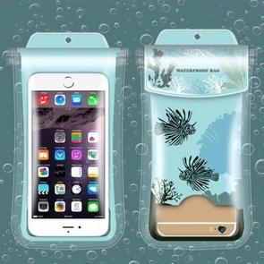 Coral Pattern PVC Transparent Universal Luminous Waterproof Bag with Lanyard for Smart Phones below 5.8 inch