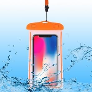 PVC transparante universele lichtgevende waterdichte tas met Lanyard voor smartphones onder 6,0 inch (oranje)