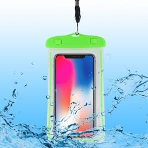 PVC transparante universele lichtgevende waterdichte tas met Lanyard voor smartphones onder 6,0 inch (groen)