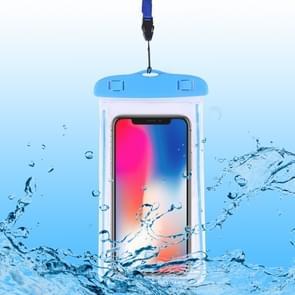 PVC transparante universele lichtgevende waterdichte tas met Lanyard voor smartphones onder 6 0 inch (blauw)