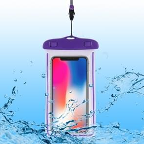 PVC transparante universele lichtgevende waterdichte tas met Lanyard voor smartphones onder 6,0 inch (paars)
