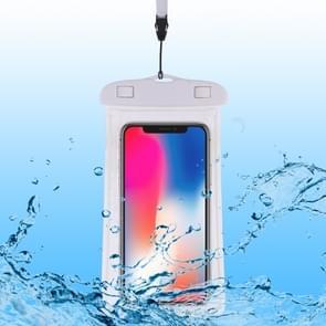 PVC transparante universele lichtgevende waterdichte tas met Lanyard voor smartphones onder 6,0 inch (wit)