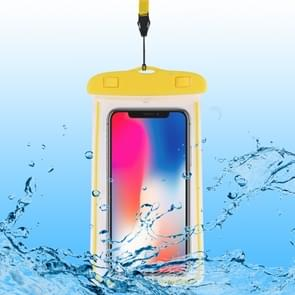 PVC transparante universele lichtgevende waterdichte tas met Lanyard voor smartphones onder 6 0 inch (geel)