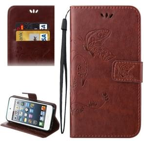 For iPod Touch 5 Crazy Horse Texture Printing Horizontal Flip Leather Case with Holder & Card Slots & Wallet & Lanyard(Coffee)