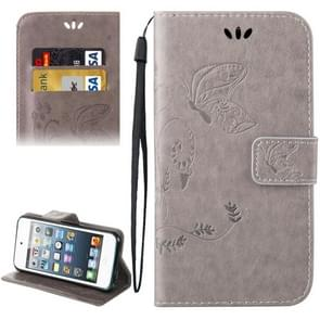 For iPod Touch 5 Crazy Horse Texture Printing Horizontal Flip Leather Case with Holder & Card Slots & Wallet & Lanyard(Grey)