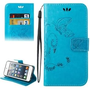 For iPod Touch 5 Crazy Horse Texture Printing Horizontal Flip Leather Case with Holder & Card Slots & Wallet & Lanyard(Blue)