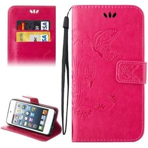 For iPod Touch 5 Crazy Horse Texture Printing Horizontal Flip Leather Case with Holder & Card Slots & Wallet & Lanyard(Magenta)