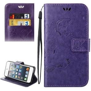 For iPod Touch 5 Crazy Horse Texture Printing Horizontal Flip Leather Case with Holder & Card Slots & Wallet & Lanyard(Purple)