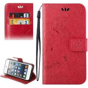 For iPod Touch 5 Crazy Horse Texture Printing Horizontal Flip Leather Case with Holder & Card Slots & Wallet & Lanyard(Red)