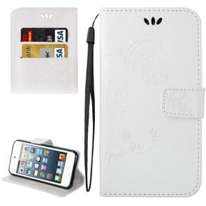 For iPod Touch 5 Crazy Horse Texture Printing Horizontal Flip Leather Case with Holder & Card Slots & Wallet & Lanyard(White)