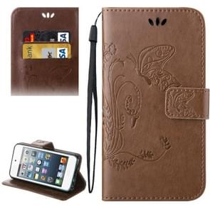 For iPod Touch 5 Crazy Horse Texture Printing Horizontal Flip Leather Case with Holder & Card Slots & Wallet & Lanyard(Brown)