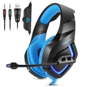 ONIKUMA K1B 3.5mm Plug Stereo USB LED Light Headphone with Microphone, For PS4, Smartphone, Tablet, PC, Notebook(Blue)