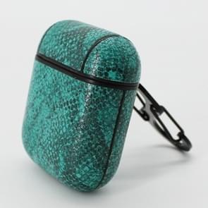 Snake huid textuur anti-verloren Dropproof draadloze oortelefoons opladen vak beschermhoes voor Apple AirPods (groen)