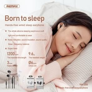 REMAX RM-208 In-Ear Stereo Sleep Earphone met Wire Control + MIC  Ondersteuning Hands-free(Wit)