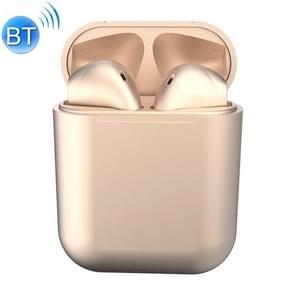 InPods12 TWS Bluetooth 5.0 Metallic Matte Plating Bluetooth-oortelefoon met oplaadcase ondersteunt Call & Touch(Champagne Gold)