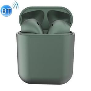 InPods12 TWS Bluetooth 5 0 metallic matte plating Bluetooth oortelefoon met Oplaadetui  ondersteunt Call & Touch (donkergroen)