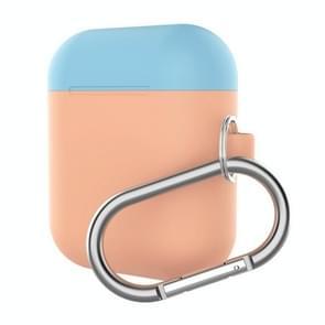 Oortelefoons dikker Split anti-val siliconenhoes met Carabiner voor Apple Airpods (Baby blauw + licht oranje)