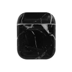 Draadloze oordopjes marmeren schokbestendig TPU beschermhoes voor Apple luchtpods 1/2 (zwart)