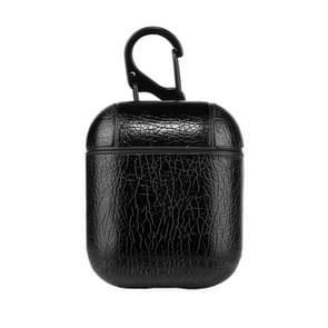 Draadloze oortelefoons Litchi textuur schokbestendig siliconen beschermhoes voor Apple luchtpods 1/2 (zwart)